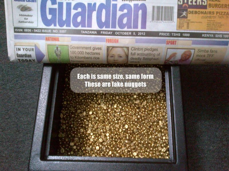 Fake gold nuggets from Tanzania