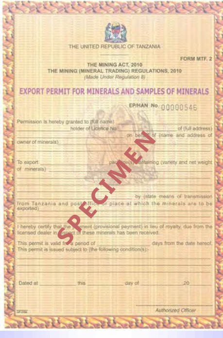 Export Permit for Minerals