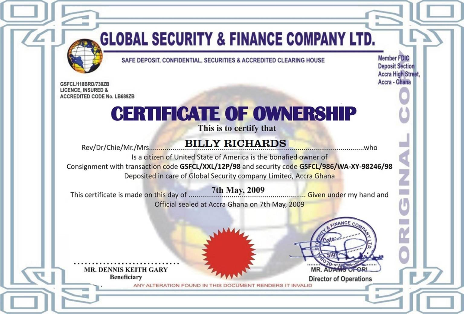 Fake documents exposed certificate of ownership for gold from ghana analysis of certificate of ownership 1betcityfo Images