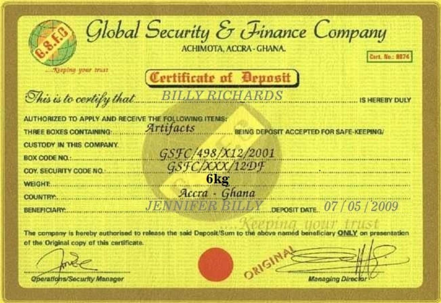 Fake documents exposed certificate of ownership for gold from ghana analysis of certificate of ownership xflitez Images