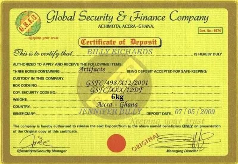 Fake certificate of ownership