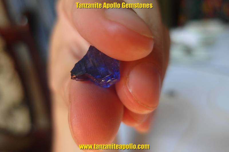 Rough blue Tanzanite gemstone