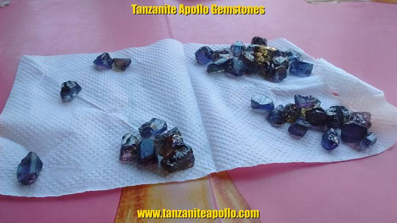 Sorted by color: high quality rough Tanzanite gemstones