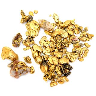 Gold nuggets from gold mining activities