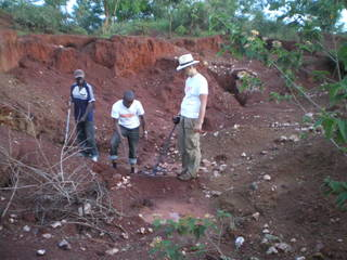 Metal detecting on the mining site