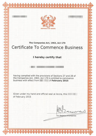 Certificate to Commence Business, Ghana Company